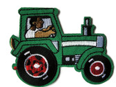 Green Tractor with Driver Embroidered Iron On Patch Applique