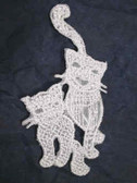 White Lace Cat Pair Iron On Patch 2.75 In