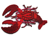 Lobster Red Shaded Embroidered Iron On Patch 3.75 Inches