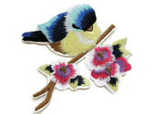 Blue Bird on Pink Quince Flower Branch Embroidered Iron On Patch Applique 4 Inch