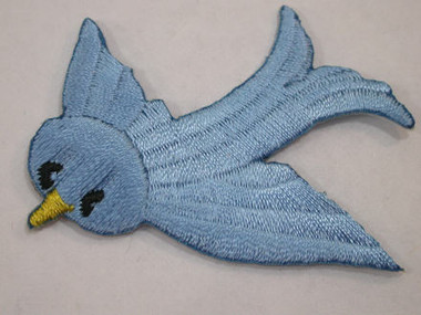Blue Bird of Happiness Embroidered Iron On Patch