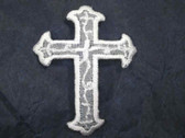 Cross Embroidered Organza Iron On Patch White 1.75 In