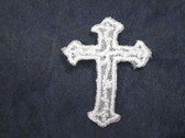 Cross Embroidered Organza Iron On Patch White 1 In