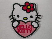 Precious Miss Kitty Cat Holding Heart Iron On Patch 2.25 Inches