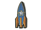 Rocket Ship with Star Embroidered Iron On Patch Applique