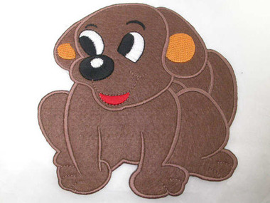 """5"""" Cute Brown Puppy Dog Embroidered Iron On Patch"""