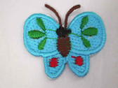 Blue Green Red Butterfly Iron On Patch 1.38