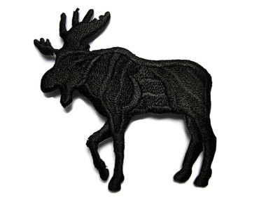 Black Moose Silhouette Embroidered Iron On Patch