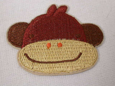 Smiling Brown Monkey Face Embroidered Iron On Patch Applique 2.25 Inches