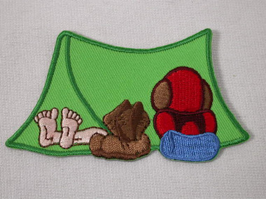 Tent  Camping Backpacking Hiking Humorous Iron On Patch 3.5 Inches