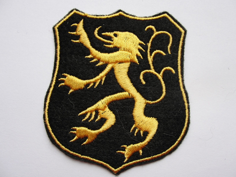 Lion Fleur Shield Crest Heraldic Emblem Embroidered Iron On Patch Applique
