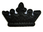 Black Royal King Queen Crown Emblem Embroidered Iron On Patch 1.50 Inches