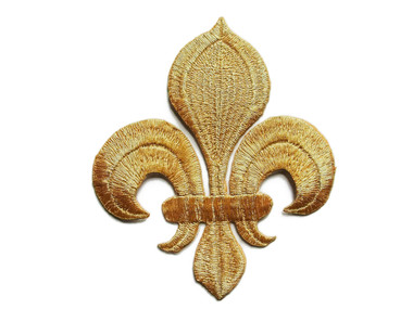 Fleur de Lis Gold Metallic Applique Embroidered Iron On Patch 4 Inches