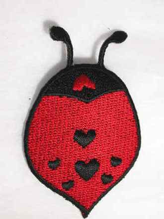 Ladybug w Hearts Embroidered Iron On Patch 2.25