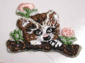 Cat w Flower Embroidered Stick On Applique Patch