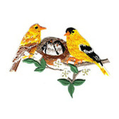 Goldfinch Pair w Nestlings Embroidered Iron On Patch