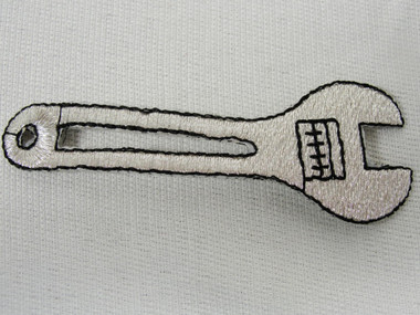 3 Inch Silver Metallic Wrench Tool Embroidered Iron On Patch