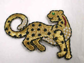 Golden Leopard Green Eye Iron On Applique Patch 2.5