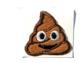 Poop Emoji Embroidered Iron Stick On Patch Applique 1.25 Inches