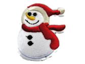 Traditional Snowman with Red Scarf Embroidered Iron On Applique Patch 2.25 Inch
