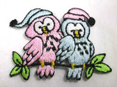 Pair Sleepy Love Bird Owls Iron On Applique Patch