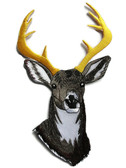 Large Deer Head Embroidered Iron On Patch Applique 8 Inch
