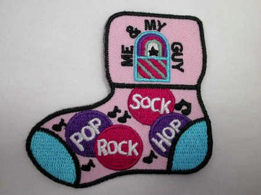 Pop Rock Sock Hop Iron On Patch Applique Version A