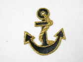 Gold Black Nautical Anchor Iron On Patch 2 Inch