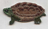 Reeves Turtle Iron On Embroidered Patch Natural