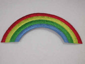 Primary Color Rainbow Embroidered Iron On Patch 3.5 In