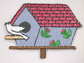 Blue Bird House White Bird Iron On Patch