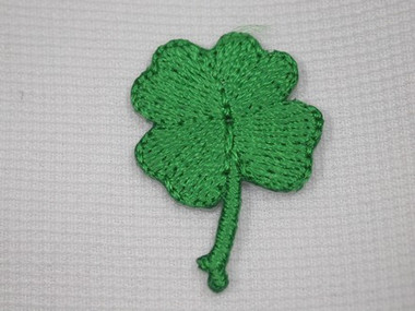 Green Shamrock Clover Leaf Iron On Patch .75 In