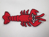 Fun Red Lobster Embroidered Iron On Patch 2.25 In