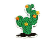 Flowering Cactus Southwest Icon Iron On Embroidered Patch 2 Inch Tall