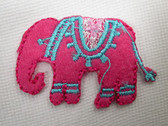 Pink Felted Elephant Iron On Applique Patch 2 In
