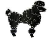 Black Satin Fancy Poodle Embroidered Iron On Patch Applique 5.5 Inch