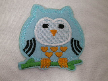 Chubby Baby Blue Felted Owl Embroidery Accents Iron On Patch