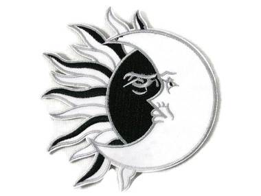 Sun Moon w Black Silver Iron On Embroidered Patch 4 Inch