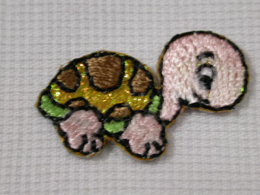 Luster Turtle Infant Embroidered Iron On Patch 1 Inch
