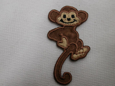 Monkey Curled Tail Embroidered Iron On Patch 2 In