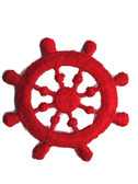 Red Ship Wheel Nautical Emblem Embroidered Iron On Patch Applique