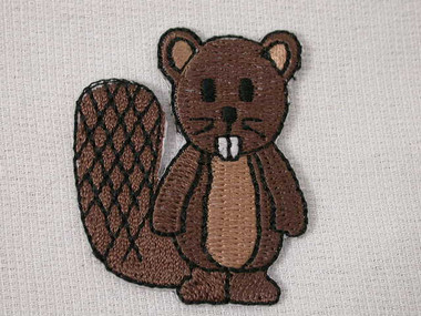 Beaver Iron On Patch Comical Buck Toothed 1.38