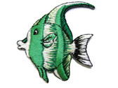Green White Angel Fish Embroidered Iron On Patch Applique 1.75 Inches