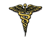 Yellow Medical Caduceus Embroidered Iron On Patch Applique 2.75 Inch