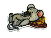 Cute Mouse Sleeping on Cheese Wedge Embroidered Iron On Patch Applique 2.25 Inch