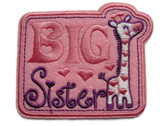 Big Sister Giraffe Pink Applique Embroidered Iron On Patch 3.38 Inches