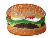Hamburger with Bun Embroidered Iron On Patch 2.38 Inches