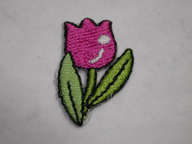 Pink Tulip Embroidered Iron On Patch .88 In