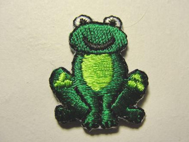 Frog Green Smiling Seated Iron On Patch 1 In