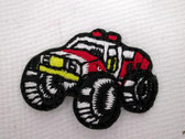 Monster Truck Black Red Child Iron On Patch 1 In